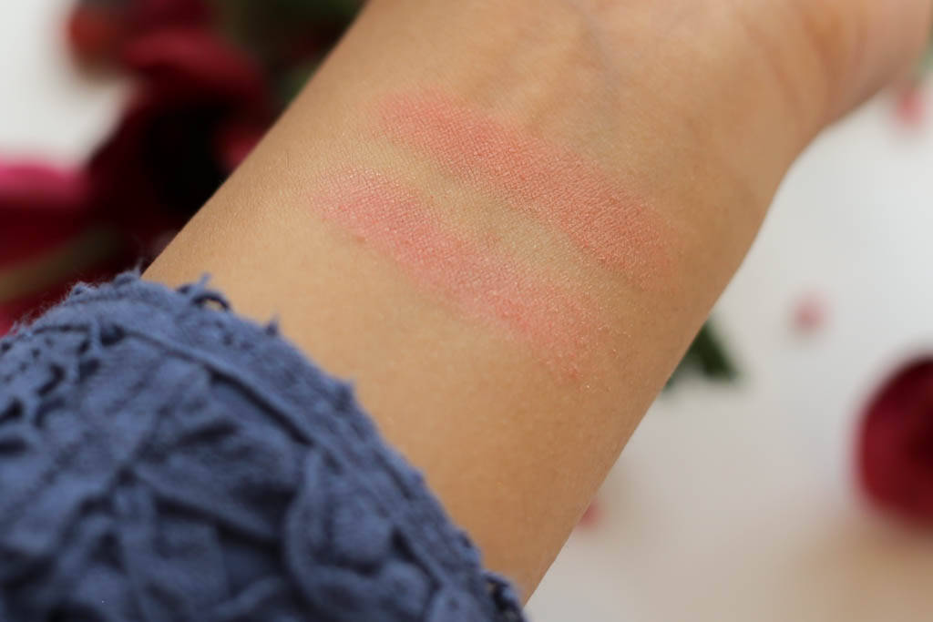 Swatches of the Laura Mercier Second Skin Cheek Colours in Lush Nectarine & Sweet Mandarin