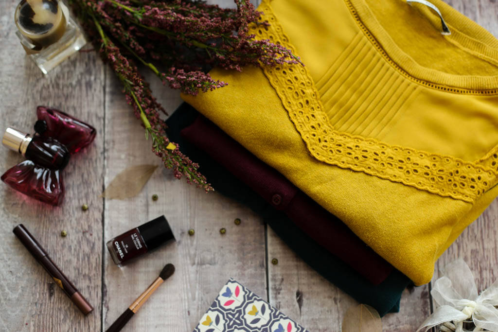 Mustard jumper and green and burgundy cardigans