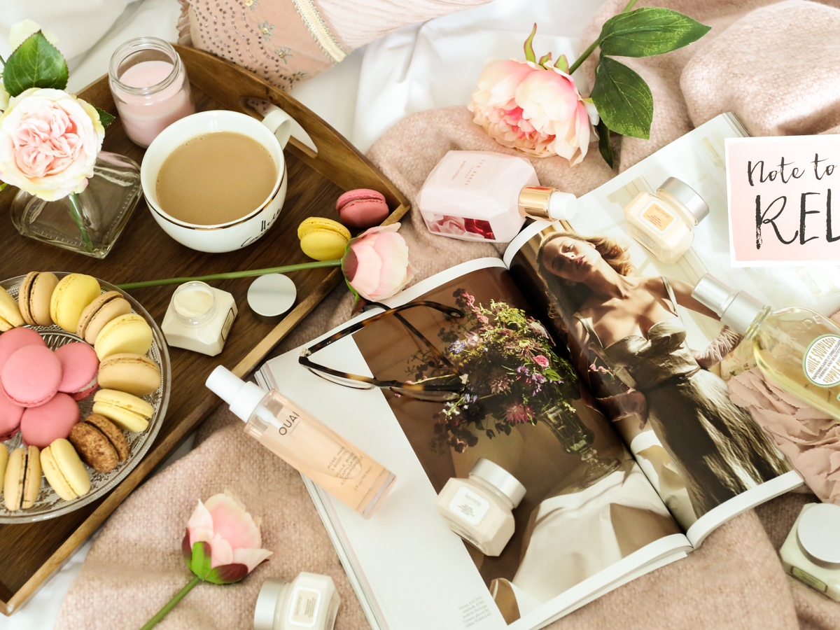 Blog Photography   3 of My Favourite Flatlay Styles : The on the bed flatlay feat skincare essentials