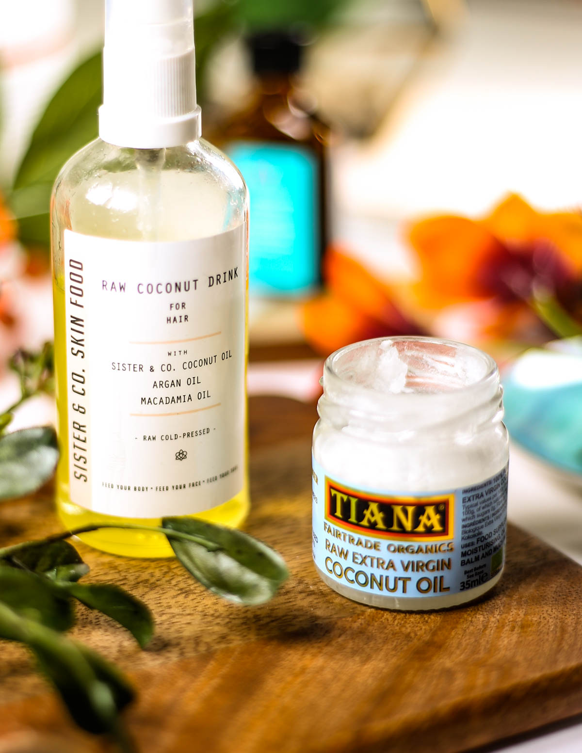 The Hair Products You Need For Healthy, Shiny & Frizz-Free Hair | Image featuring the Sister & Co Raw Coconut Drink for Hair and the Tiana Fairtrade Organics Raw Extra Virgin Coconut Oil