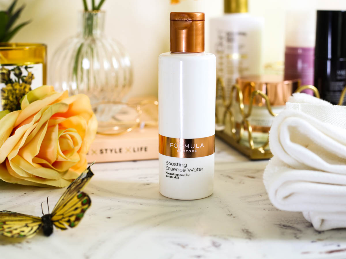 Affordable Skincare that works featuring M&S Beauty | M&S Formula Restore Boosting Essence Water in bathroom setting_