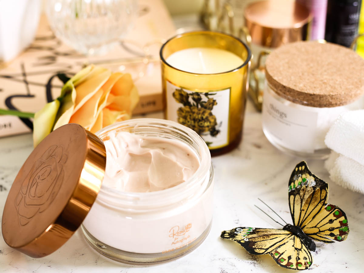Affordable Skincare that works featuring M&S Beauty | Rosie for Autograph Divine Body Cream in bathroom setting_