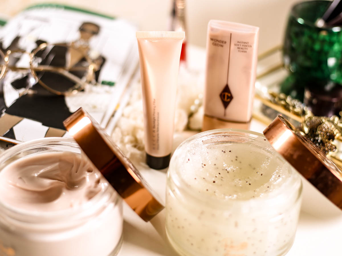 Get The Glow- My Favourites for Glowing Skin | Rosie for Autogragh Dvine Body Scrub & Body, Lotion, Becca Backlight Priming Filter, Charlotte Tilbury Wonder Glow_