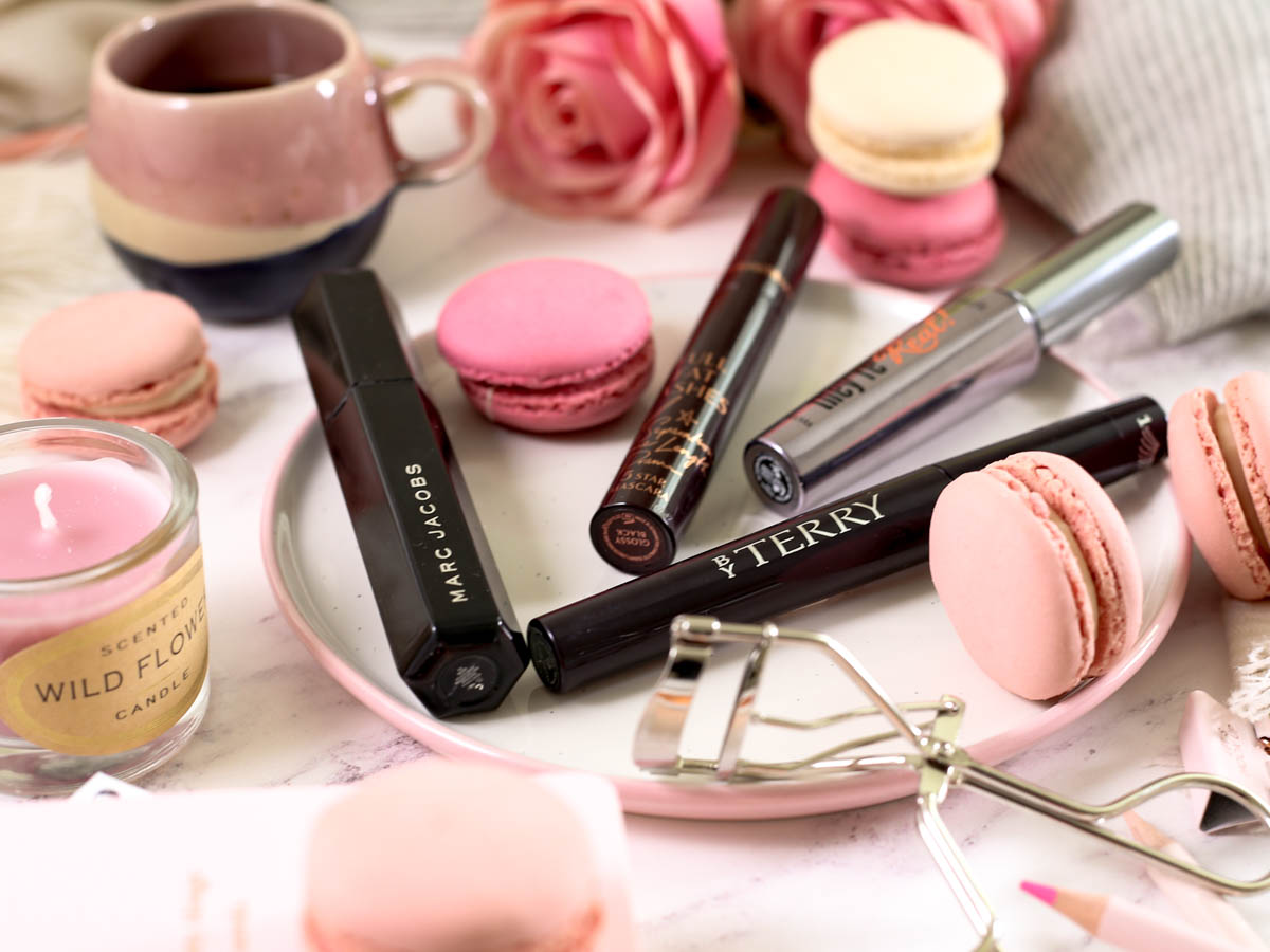 The Mascara Edit | High End Mascaras Worth Trying for Fuller Lashes | Feat By Terry | Charlotte Tilbury | Benefit | Marc Jacobs | Styled with espresso cup pink macarons scarf & eyelash curler_