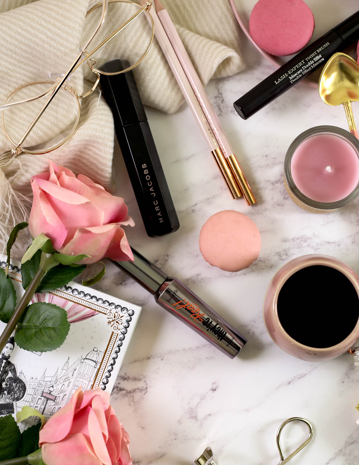 The Mascara Edit | High End Mascaras Worth Trying for Fuller Lashes | feat Marc Jacobs Velvet Nior Major Volume Mascara & Benefit They're Real Lengthening Mascara on marble backdrop