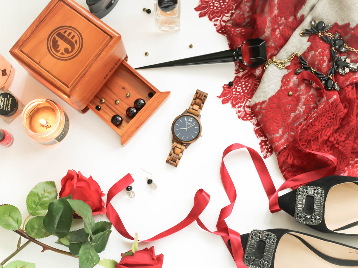 JORD Frankie Series Zebrawood & Navy Wooden Watch styled with red lace scarf, black shoes and beauty items