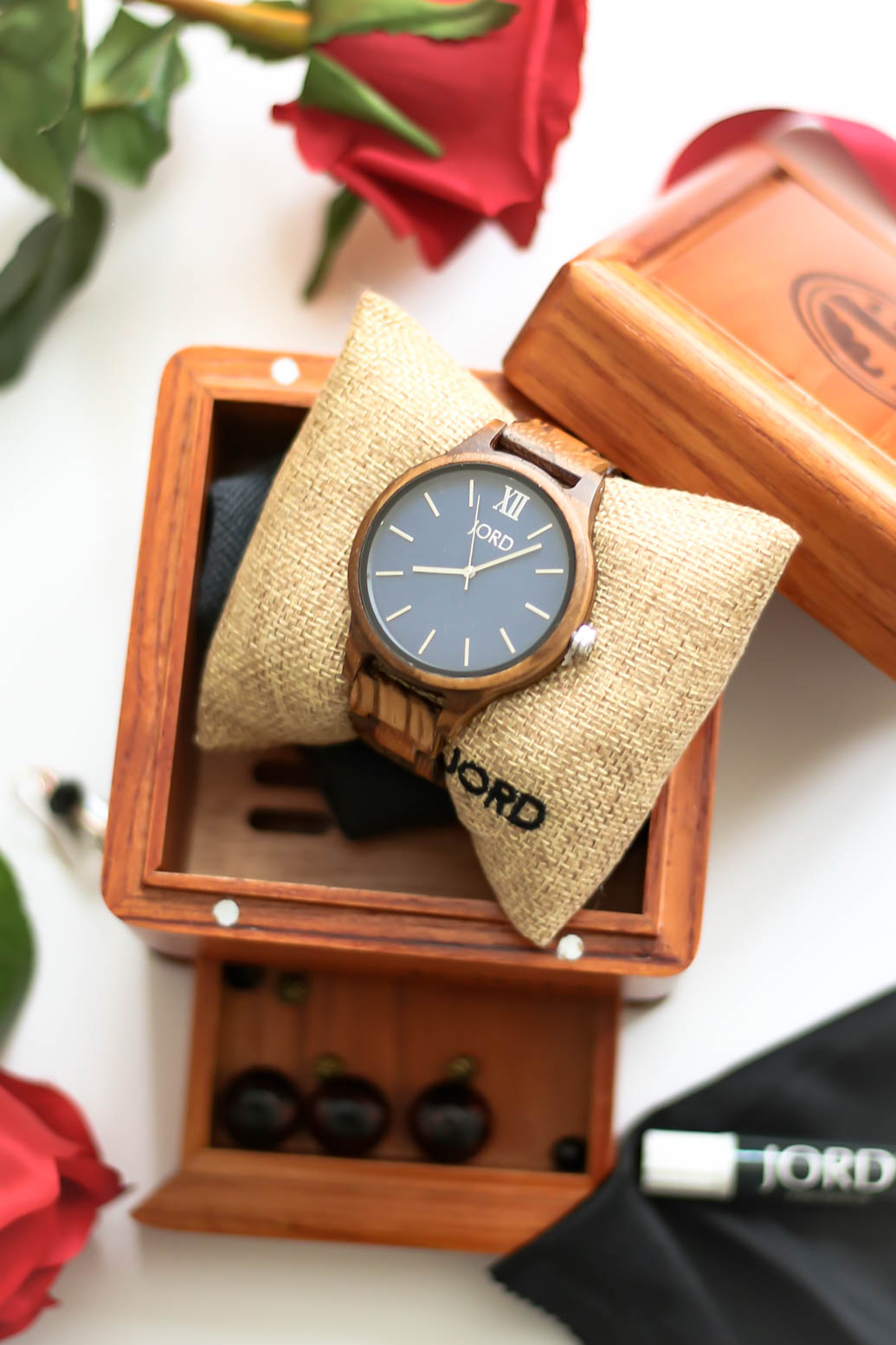 JORD Frankie Series Zebrawood & Navy Watch in wooden packaging.