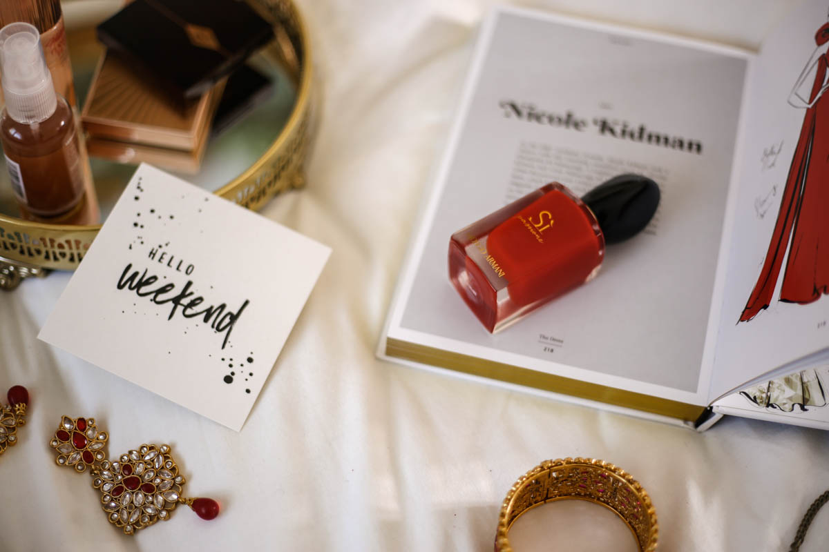 Get Red Carpet Ready With These Beauty Essentials | Feat Armani Si Passione on bed