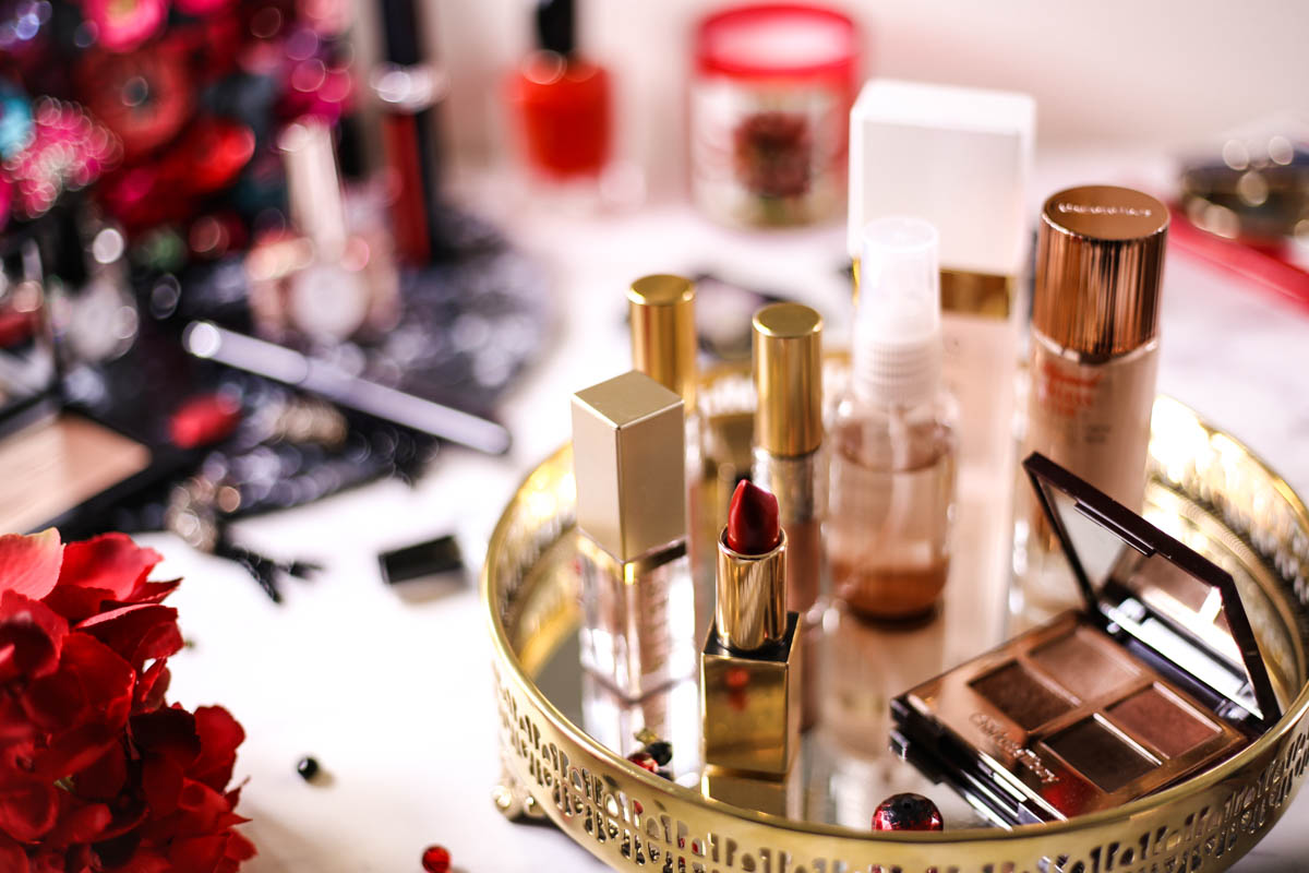 Get Red Carpet Ready With These Beauty Essentials | Featuring Makeup in gold tray on dressing table