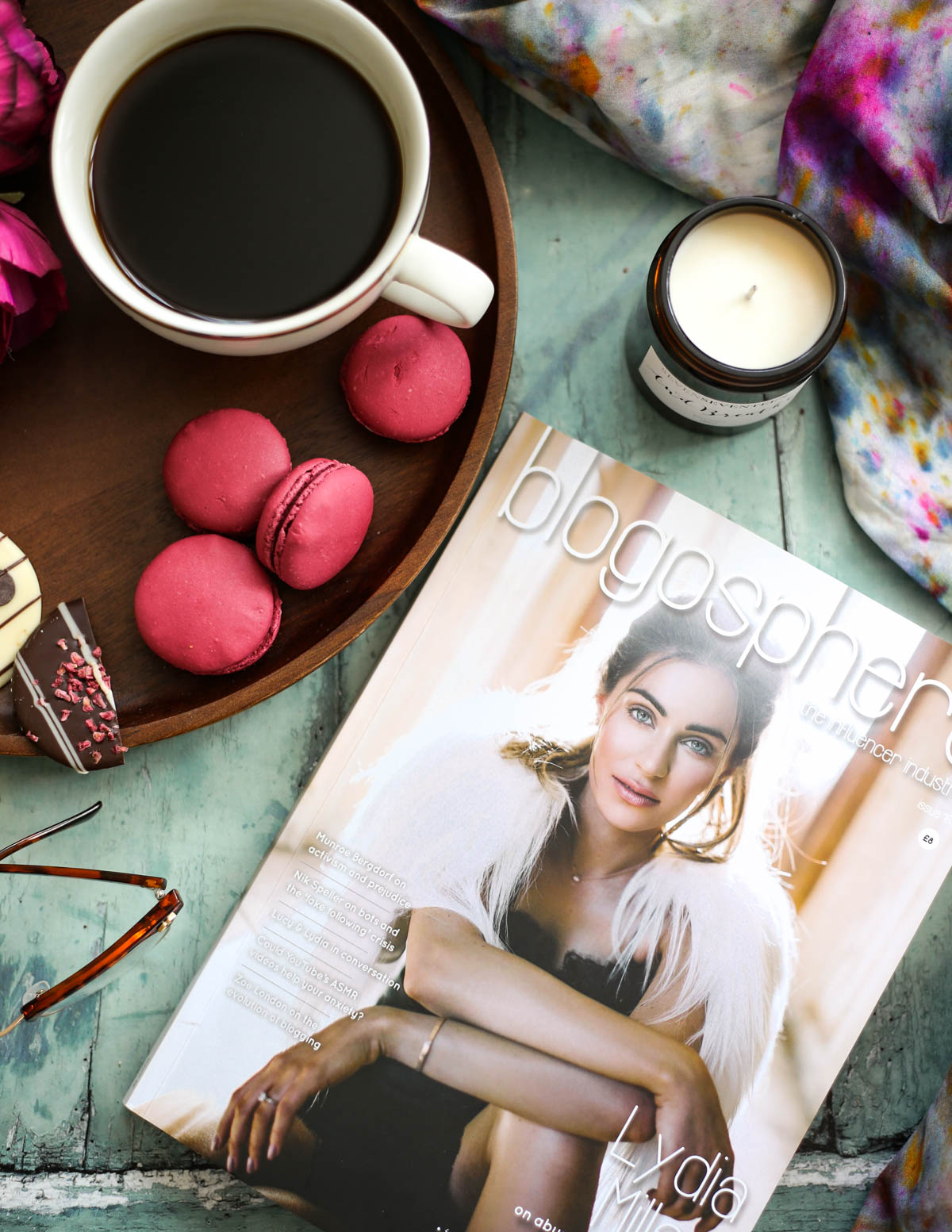 My Hydration Heroes for the Skin, Lips & Eyes   styled with coffee cup, Blogosphere Magazine & macarons_