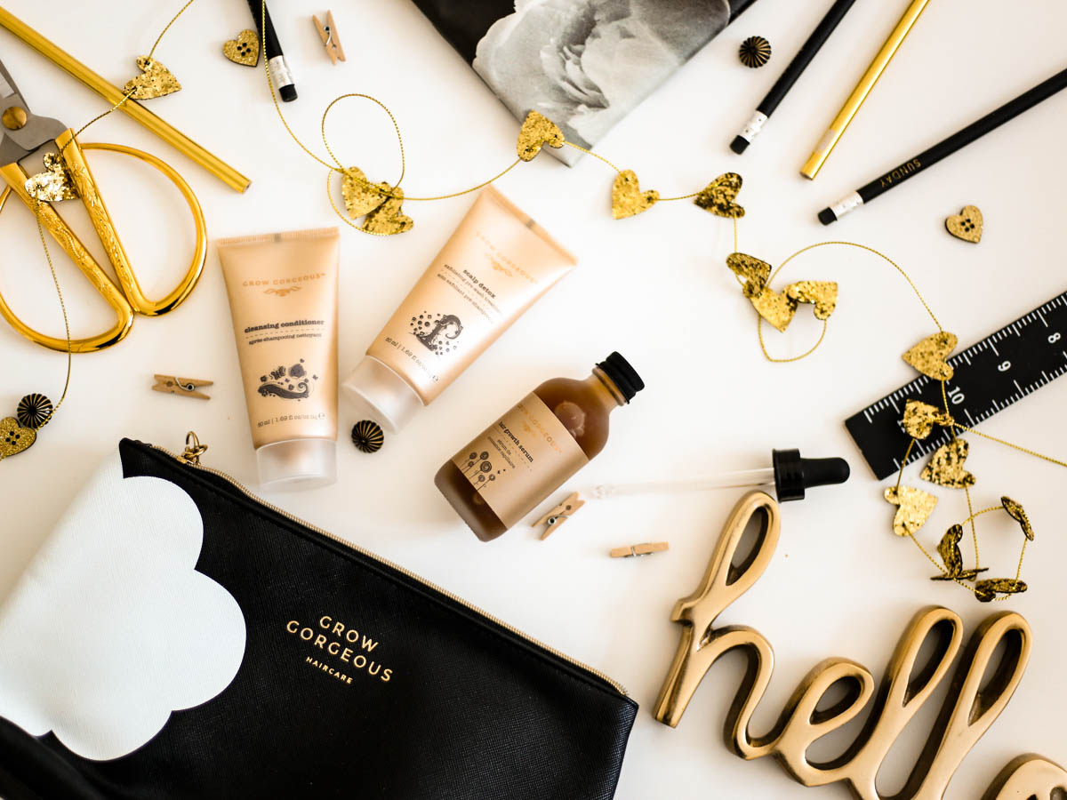 New Beauty Highlights | Grow Gorgeous Three Steps to Gorgeous Kit styled with stationery and gold decorations