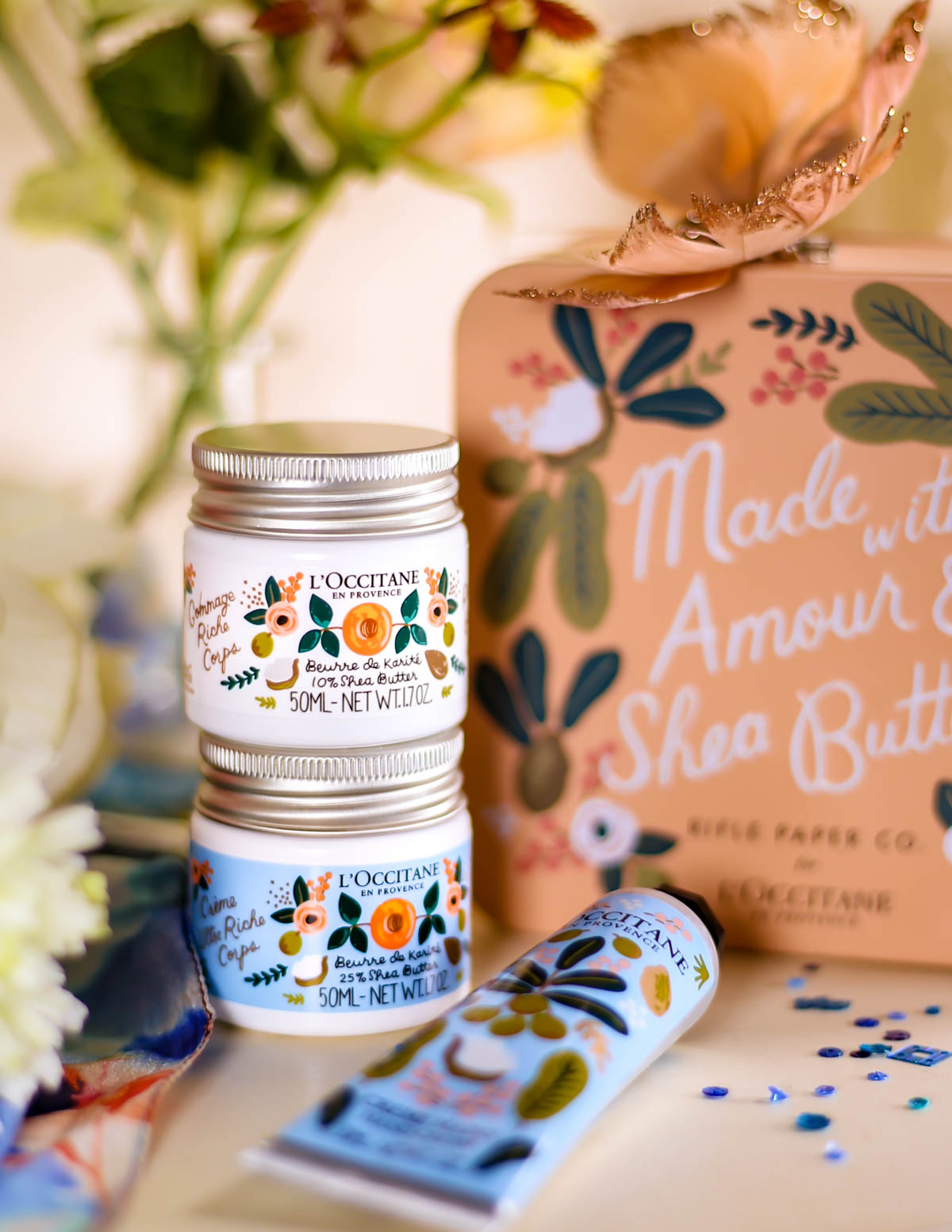 New Beauty Highlights   L'Occitane Shea Collection by Rifle Paper Co styled with butterfly