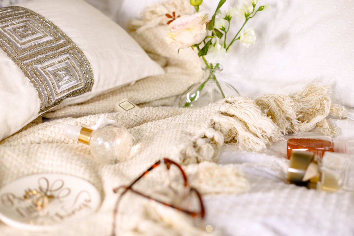 Spring Home Decor Ideas | Easy Ways to Freshen Up Your Home feat M&S Gold Throw on bed