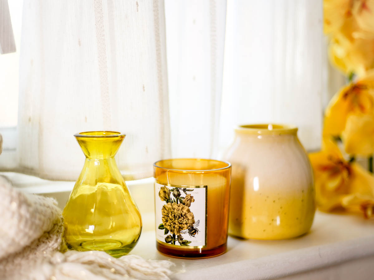 Spring Home Decor Ideas | Easy Ways to Freshen Up Your Home feat Yellow vase & candle by window sill
