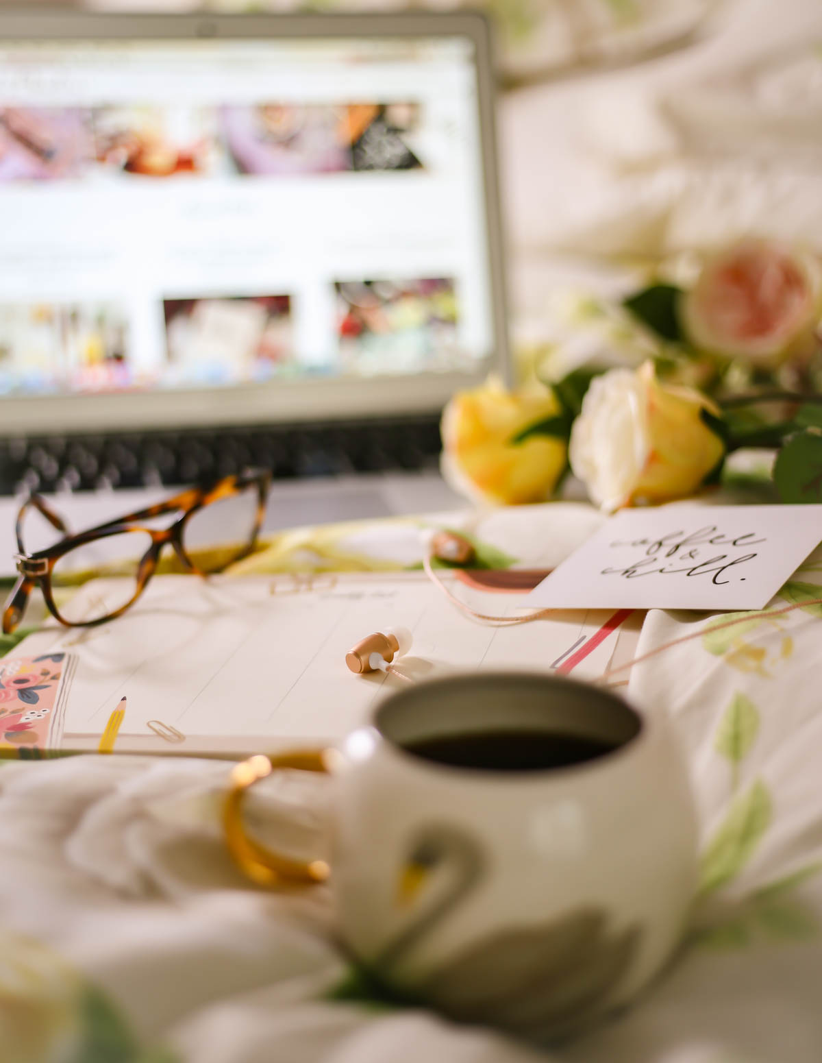 Essential Tips for Growing Your Blog | feat swan mug with laptop at distance