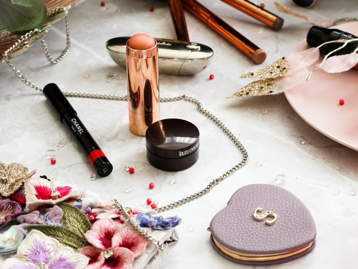 Makeup Bag for Essentials for Day to Night Beauty | feat lilac initialled compact mirror with beauty items