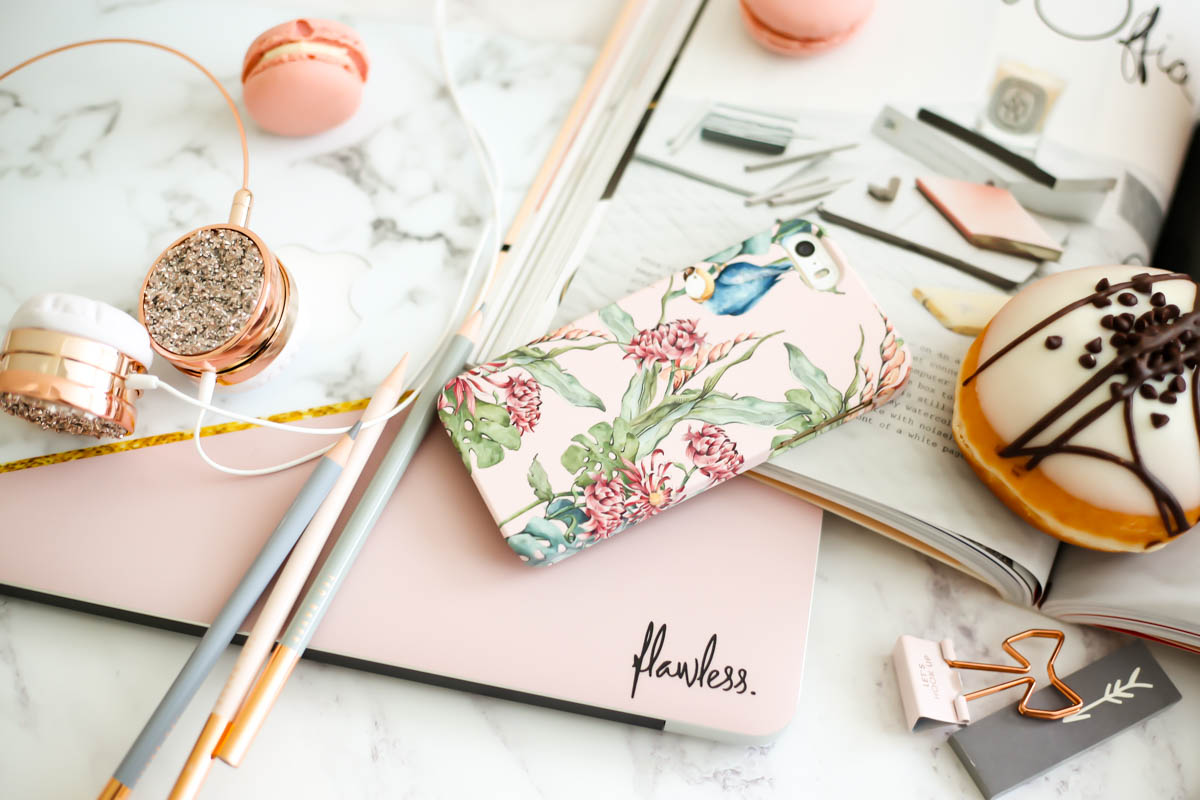 My Workday Essentials | feat Case App iphone case & Caseapp Macbook Skin styled with flowers & Grance Dore Love x Style x Life x book & doughnut