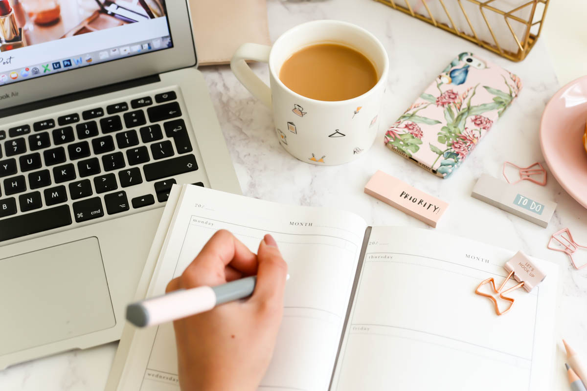 My Workday Essentials | feat Katie Leamon Diary with laptop & tea