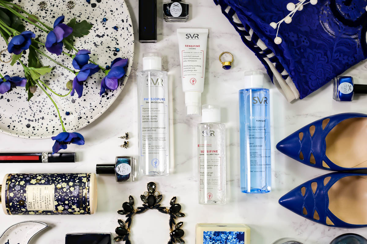 SVR Laboratoires | The French Pharmacy Brand For Every Skincare Need feat SVR Sensifine & Physiopure range in neatly laid blue themed flatlay style_