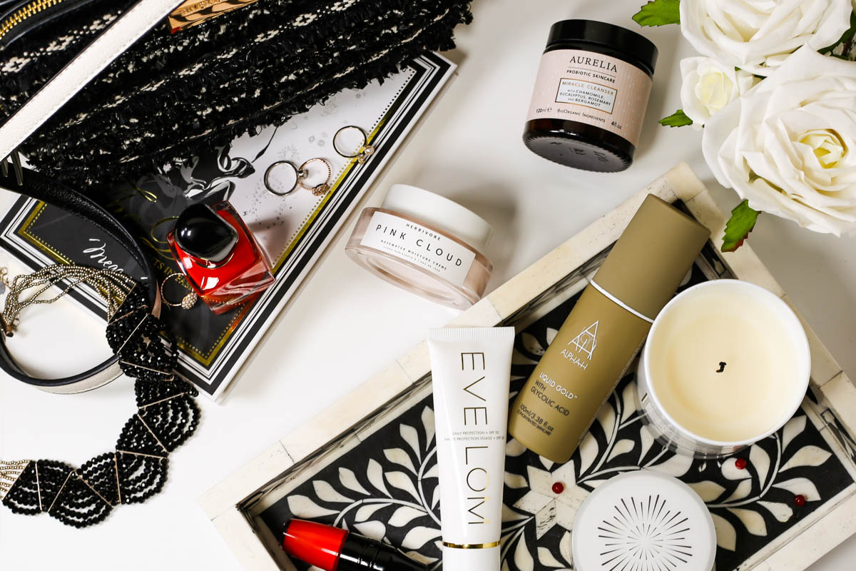 The Basic Skincare Steps you Need in your Routine | feat Eve Lom, Aurelia, Alpha H & Herbivore with handbag and beauty items