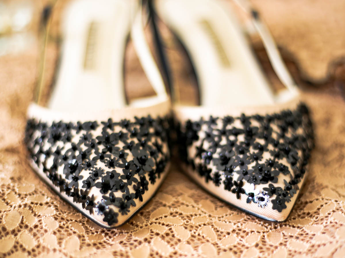 A Wardrobe Update With Some Key Fashion Pieces | feat Zara beige with black sequins kitten heel close up