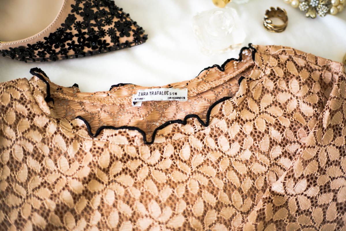 A Wardrobe Update With Some Key Fashion Pieces | feat close up of Zara lace top