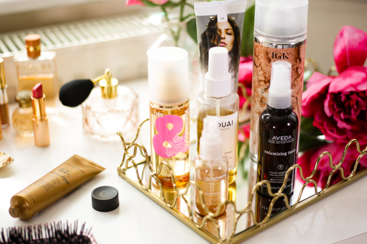 My Favourite Products for That Undone Hair Look | feat hair styling products on dressing table close up_
