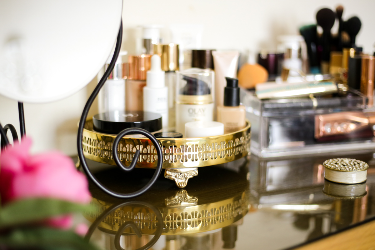 What's Currently On My Dressing Table   feat Skincare on gold tray