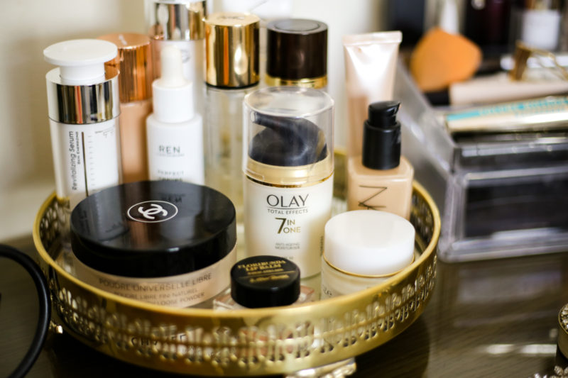 What's Currently On My Dressing Table   feat most reached base makeup & skincare in gold tray