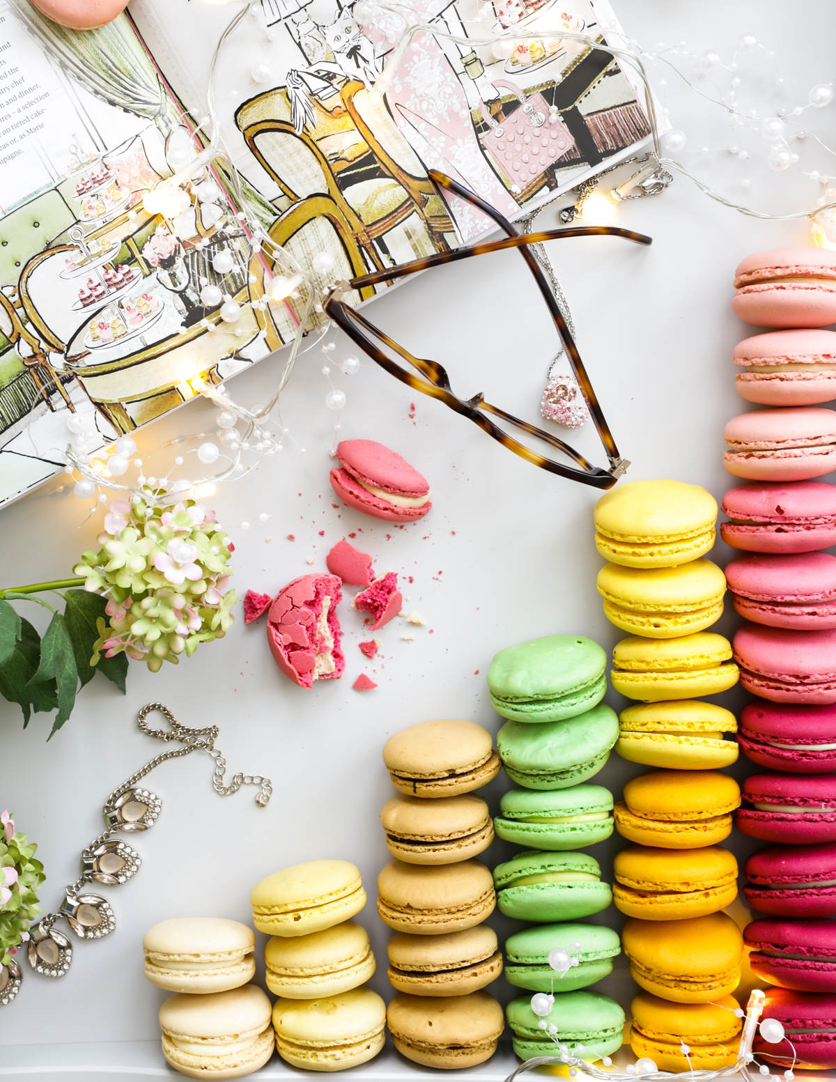 Blog Photography | Four Photo Styling Props I Love feat macarons in grey tray with glasses