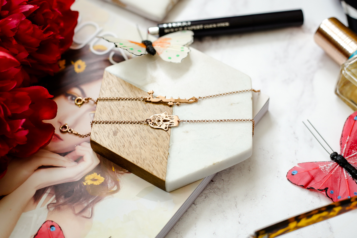 Summer Fashion & Beauty Favourites | feat oNecklace Arabic Name Bracelet & Hamsa Hand Bracelet in Rose Gold