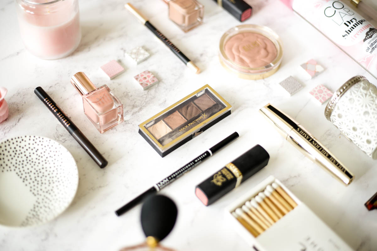 Affordable Beauty Favourites- Featuring drugstore makeup flatlay angled 2